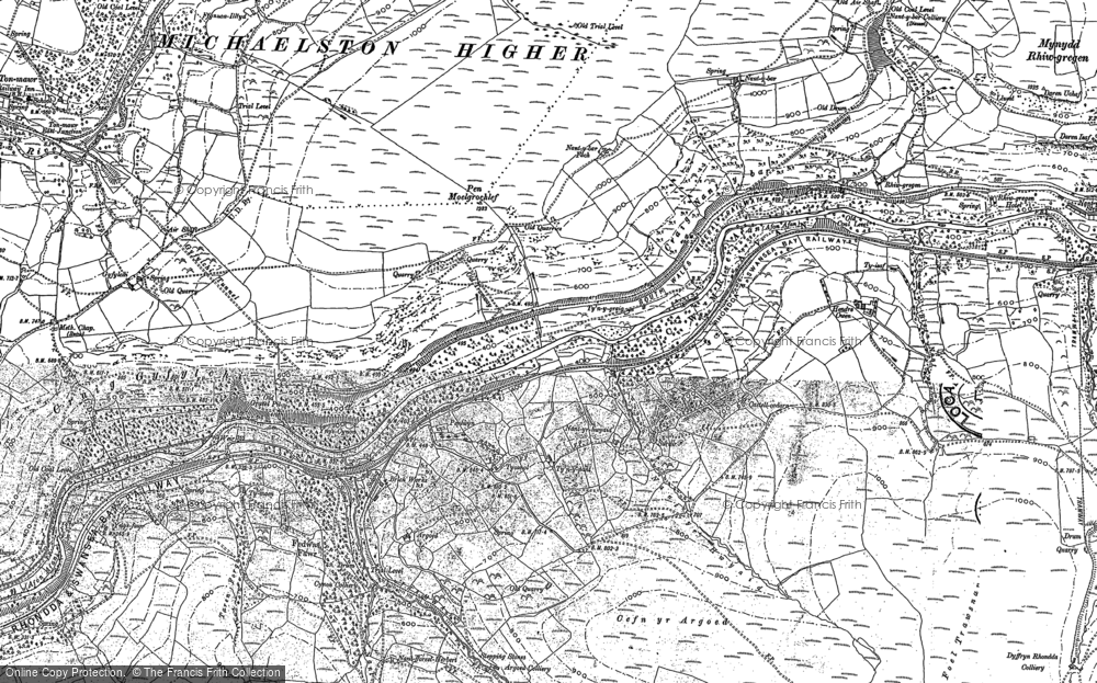 Old Map of Historic Map covering Afon Afan in 1875