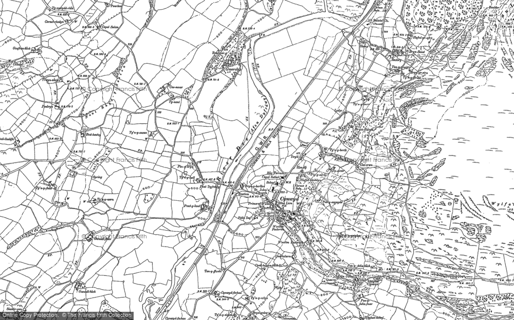 Old Map of Historic Map covering Afon Trystion in 1886
