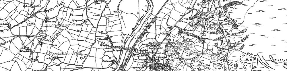 Old map of Afon Trystion in 1886