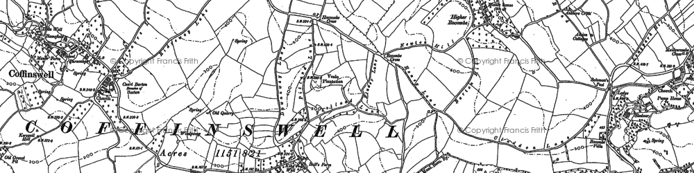 Old map of Daccombe in 1904
