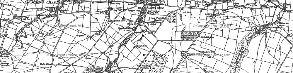 Old map of Daddry Shield in 1896