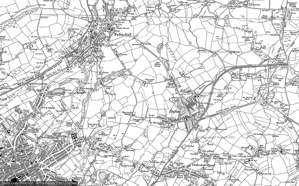 Old Map of Historic Map covering Allt-y-frân Fawr in 1878