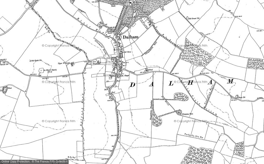 Old Map of Historic Map covering Leipsic Wood in 1883