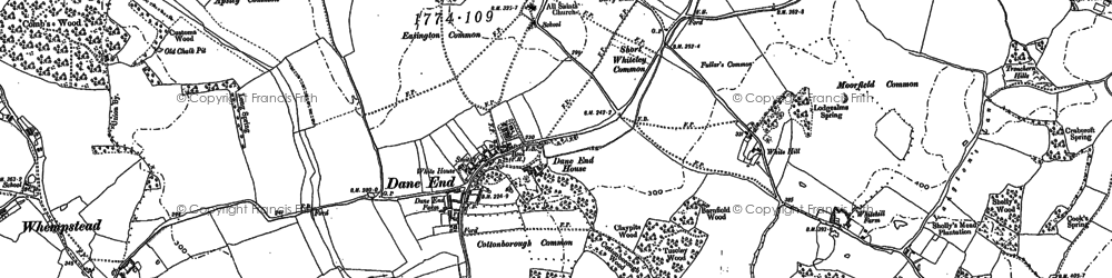Old map of Dane End in 1897