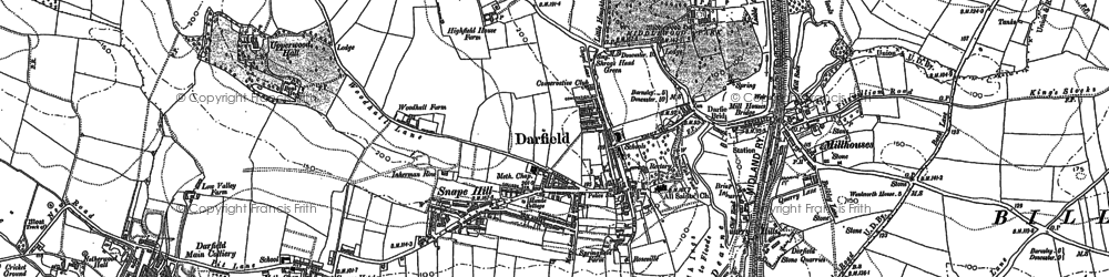 Old map of Darfield in 1851