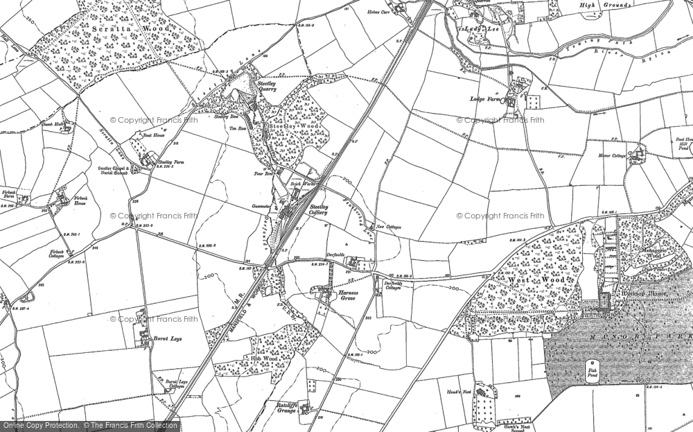 Old Map of Historic Map covering Worksop Manor in 1897