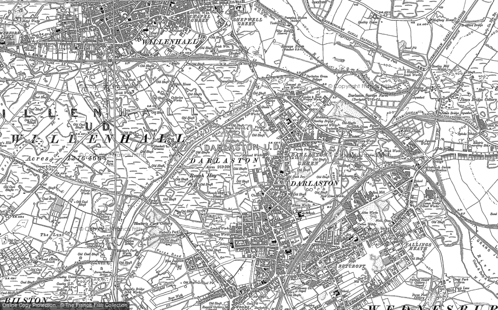 Old Map of Historic Map covering Woods Bank in 1885