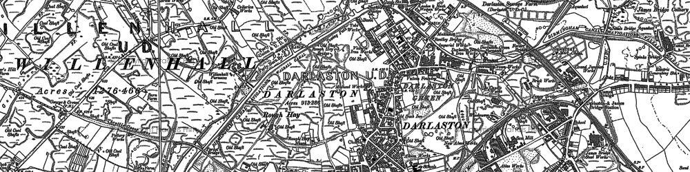 Old map of Darlaston in 1885