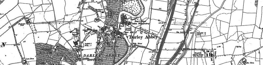 Old map of Darley Abbey in 1881