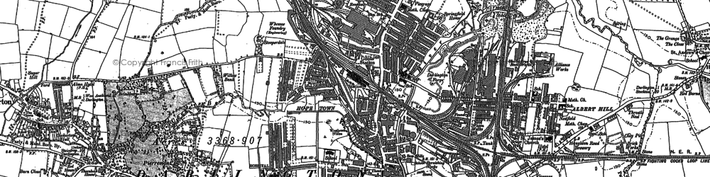 Old map of Darlington in 1913