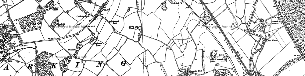 Old map of Barking in 1883
