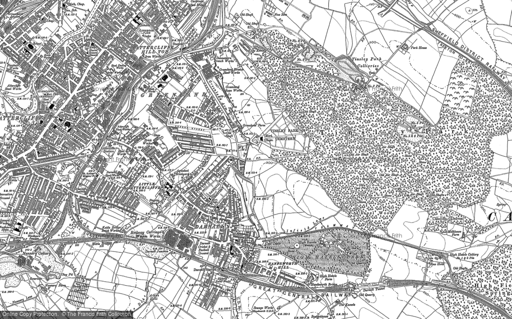 Old Map of Historic Map covering Attercliffe in 1891