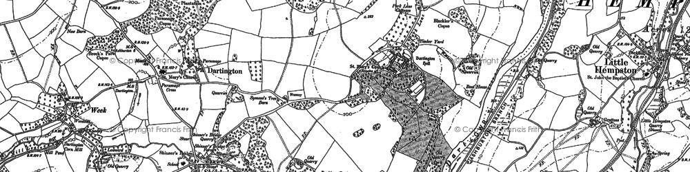 Old map of Dartington in 1886