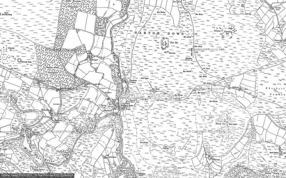 Old Map of Historic Map covering Yar Tor in 1884
