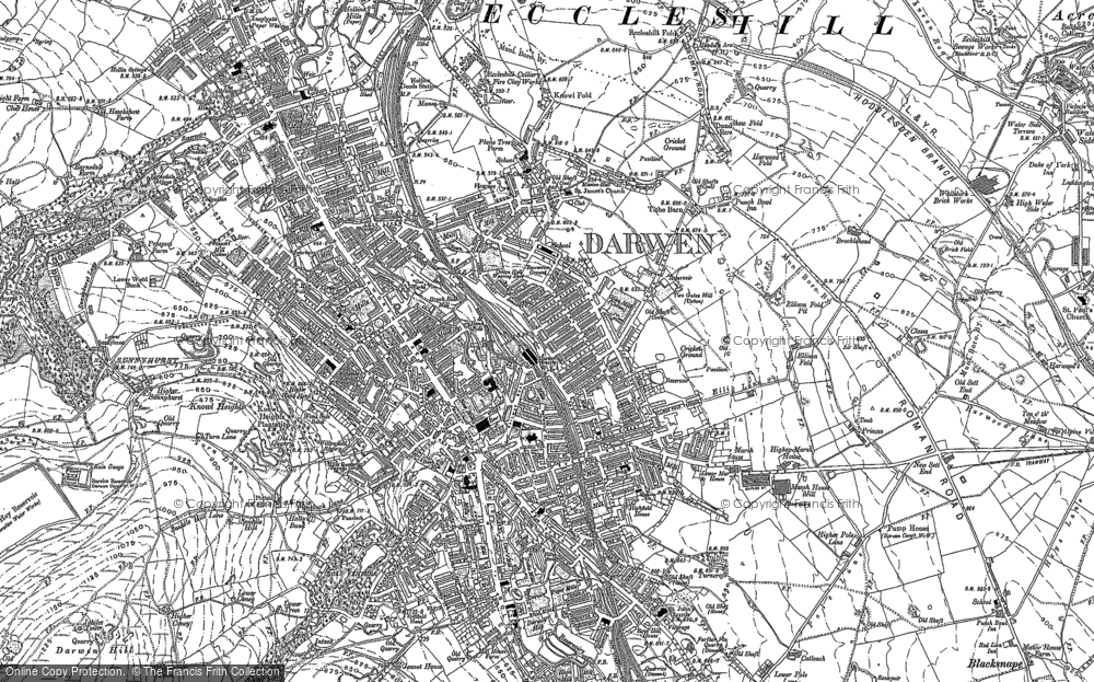 Old Map of Historic Map covering Blackburn with Darwen in 1891
