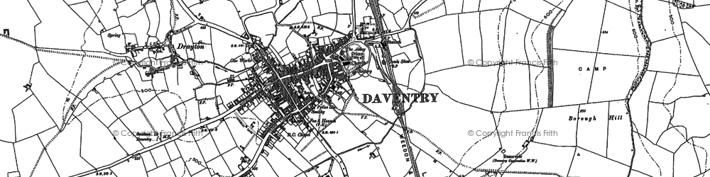 Old map of Daventry in 1950