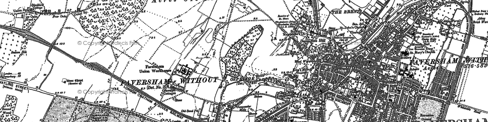 Old map of Davington in 1896