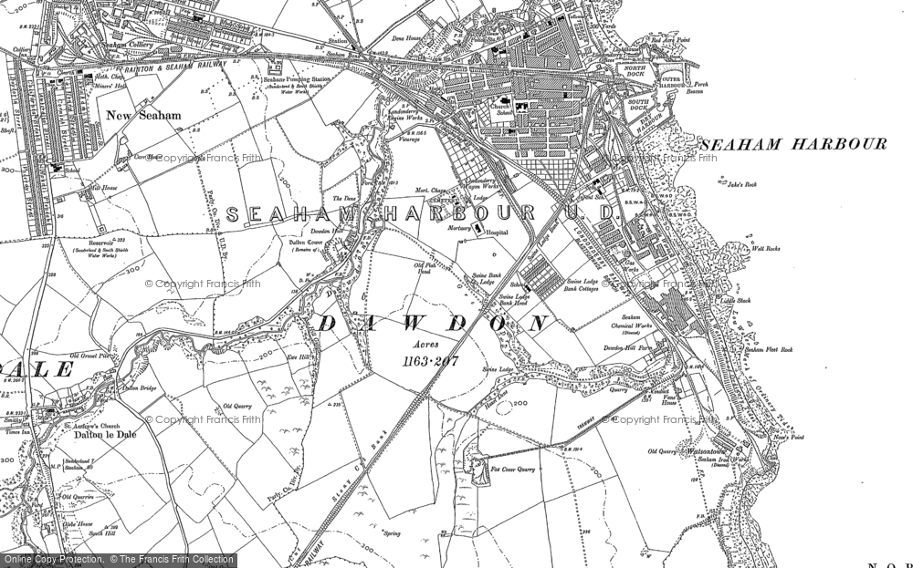 Old Map of Dawdon, 1914 in 1914