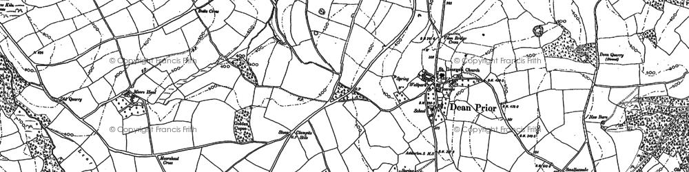 Old map of Dean Prior in 1885