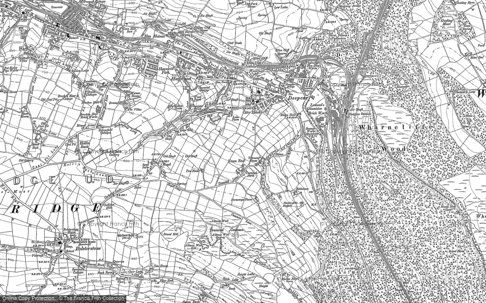 Old Map of Historic Map covering Allman Well Hill in 1891