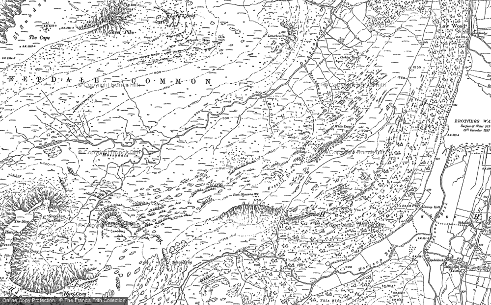 Old Map of Historic Map covering Aiken Crag in 1897