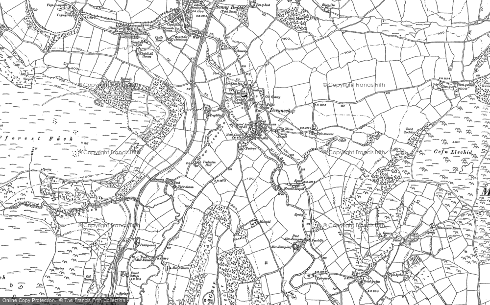 Old Map of Historic Map covering Abersenny in 1886