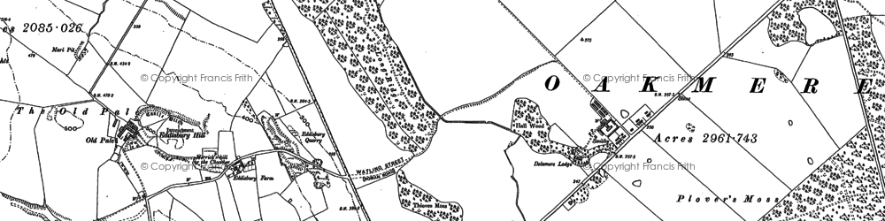 Old map of Delamere in 1897