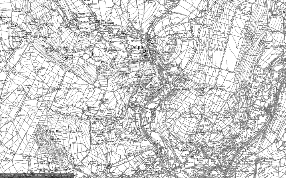 Old Map of Historic Map covering Thurston Clough in 1890