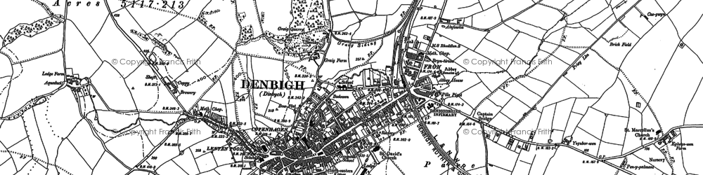 Old map of Denbigh in 1898