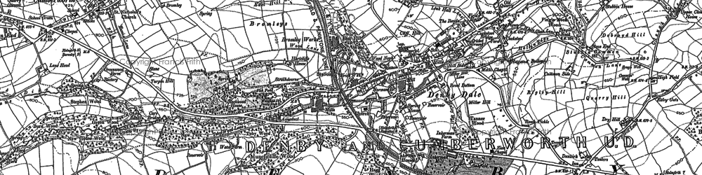 Old map of Denby Dale in 1891
