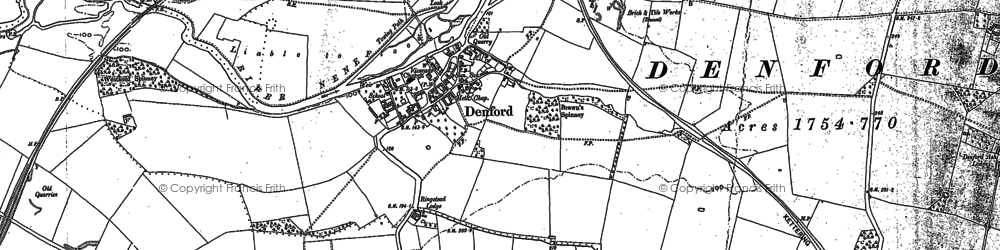 Old map of Denford in 1884