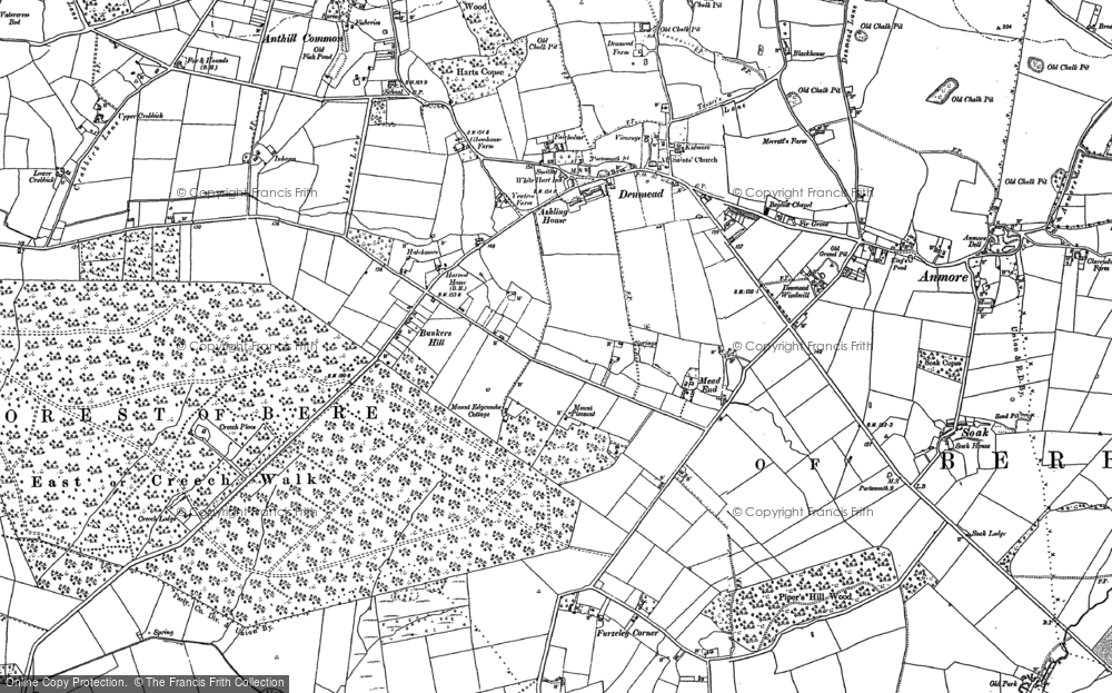 Old Map of Historic Map covering Anthill Common in 1895