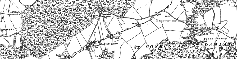 Old map of Acorn Cott in 1896