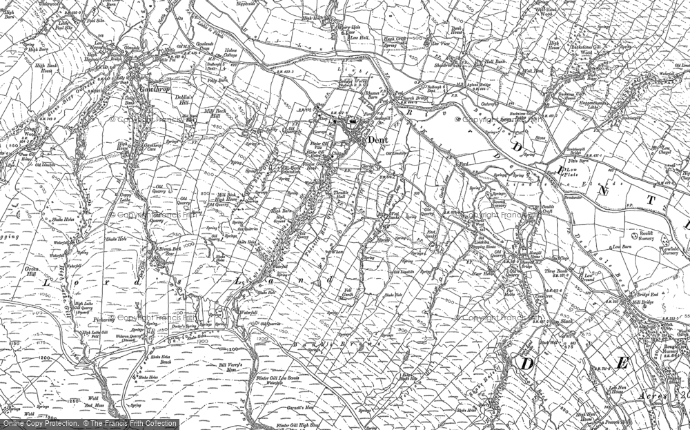 Old Map of Historic Map covering Banks Brows in 1907