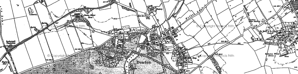 Old map of Denton in 1886