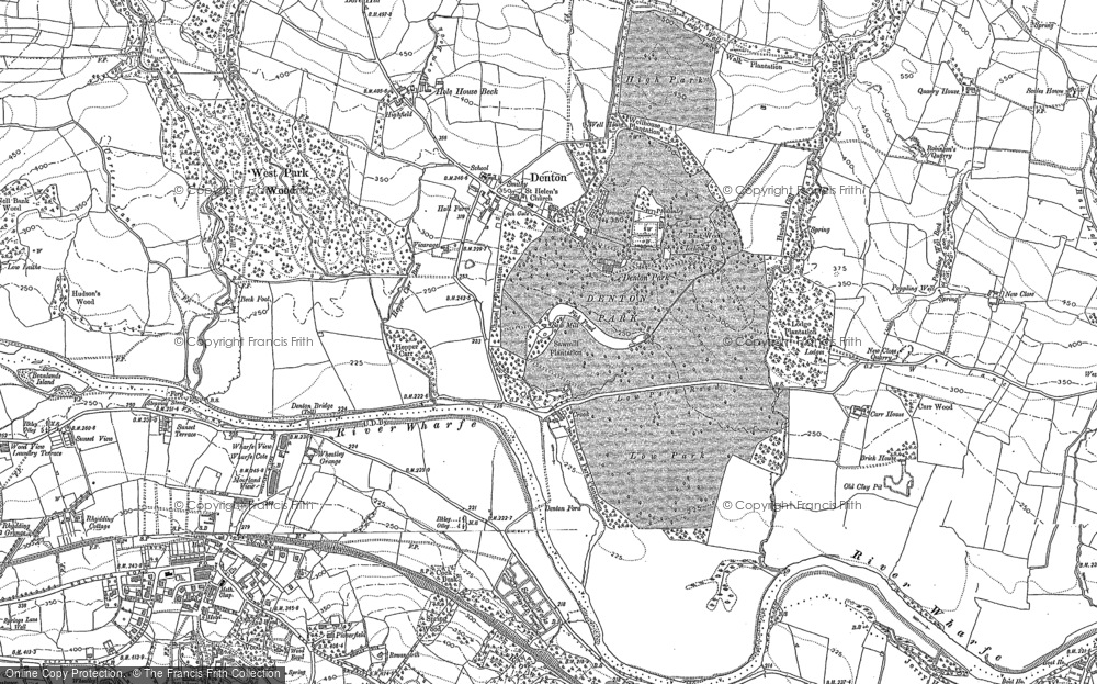 Old Map of Historic Map covering Wool Stones Hill in 1907