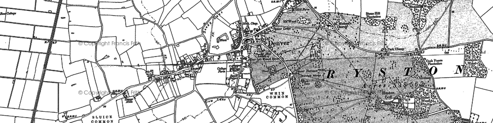 Old map of Whin Common in 1886