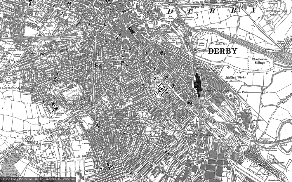Old Map of Derby, 1882 - 1899 in 1882