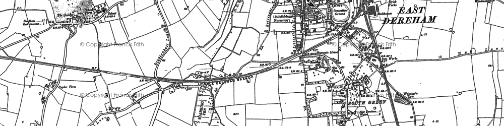 Old map of Dereham in 1882