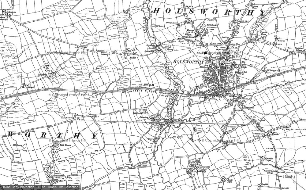 Old Map of Historic Map covering Leworthy in 1883