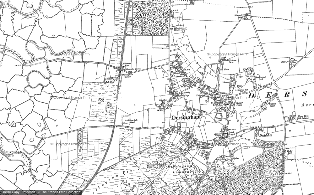 Old Map of Dersingham, 1884 - 1904 in 1884
