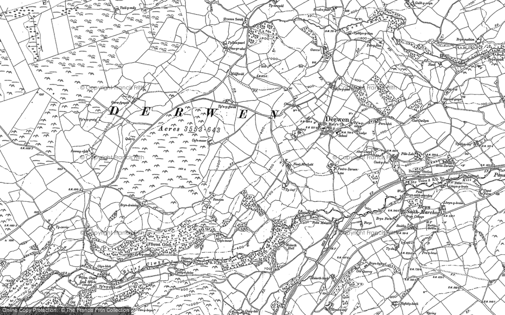 Old Map of Historic Map covering Allt-y-Celyn in 1899