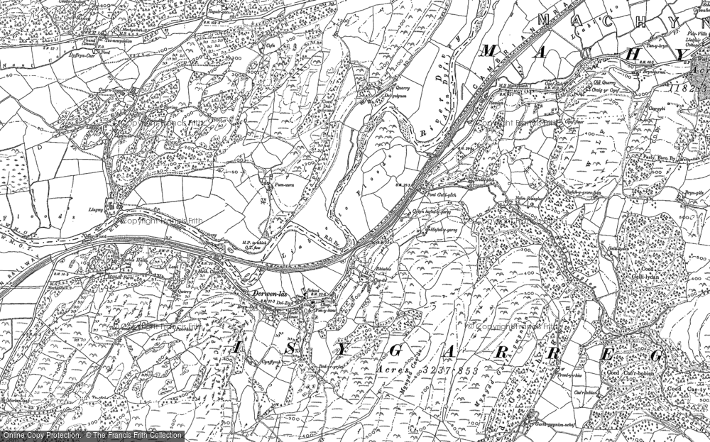 Old Map of Derwenlas, 1900 - 1901 in 1900