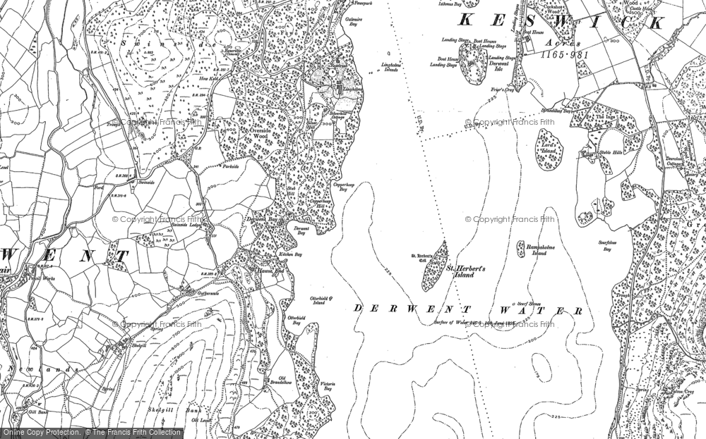 Old Map of Historic Map covering Lingholm in 1898