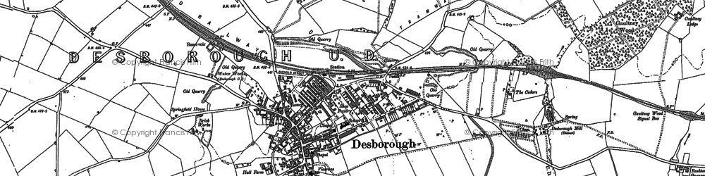 Old map of Desborough in 1884