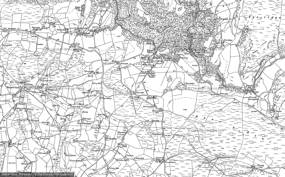 Old Map of Historic Map covering Banc y Bont in 1886