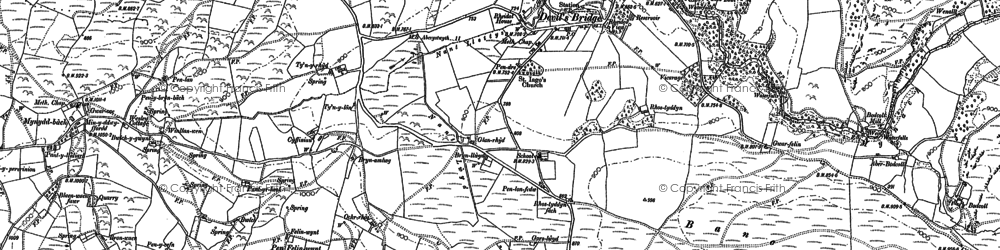 Old map of Banc y Bont in 1886