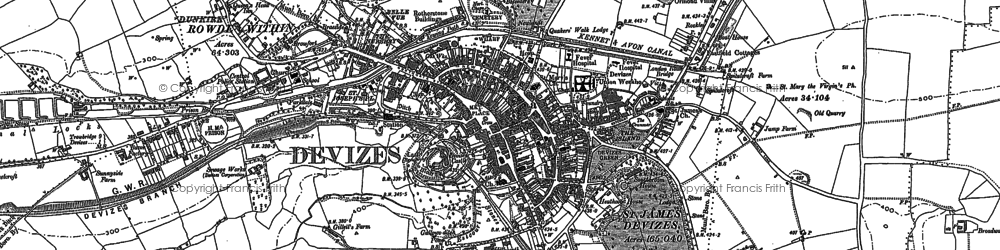 Old map of Devizes in 1899
