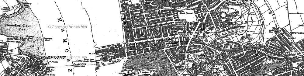 Old map of Devonport in 1912