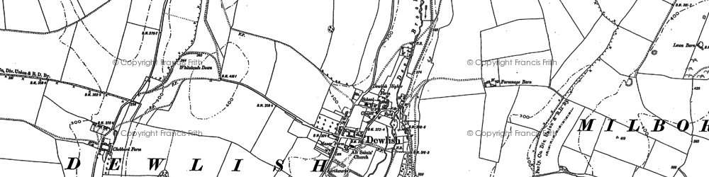 Old map of Whitelands Downs in 1887